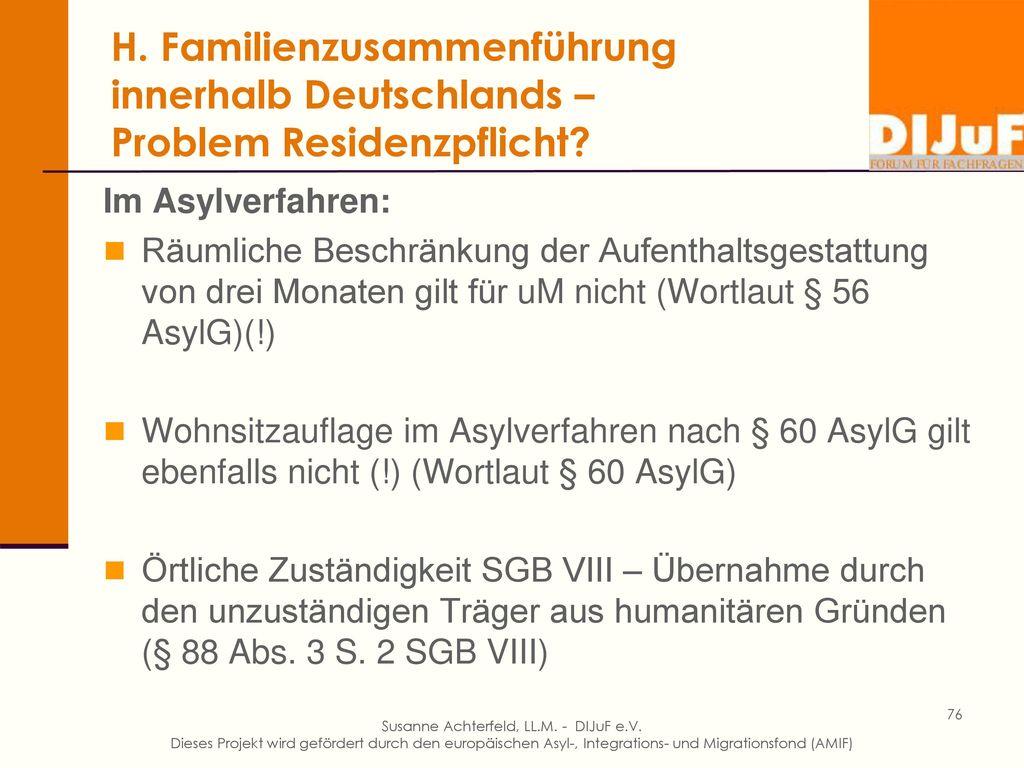 H. Elternnachzug aus dem Heimatland zu anerkanntem uM nach Deutschland