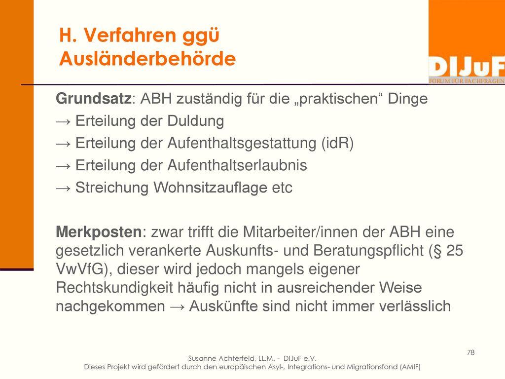 H. Familienzusammenführung innerhalb Deutschlands – Problem Residenzpflicht