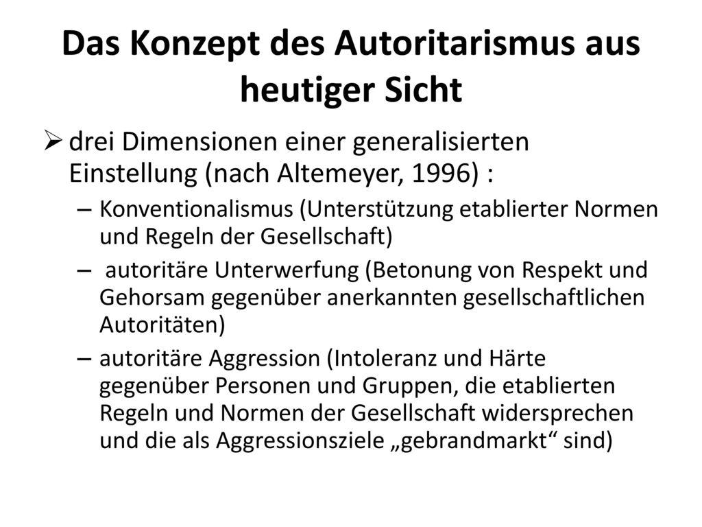 Das Konzept des Autoritarismus aus heutiger Sicht