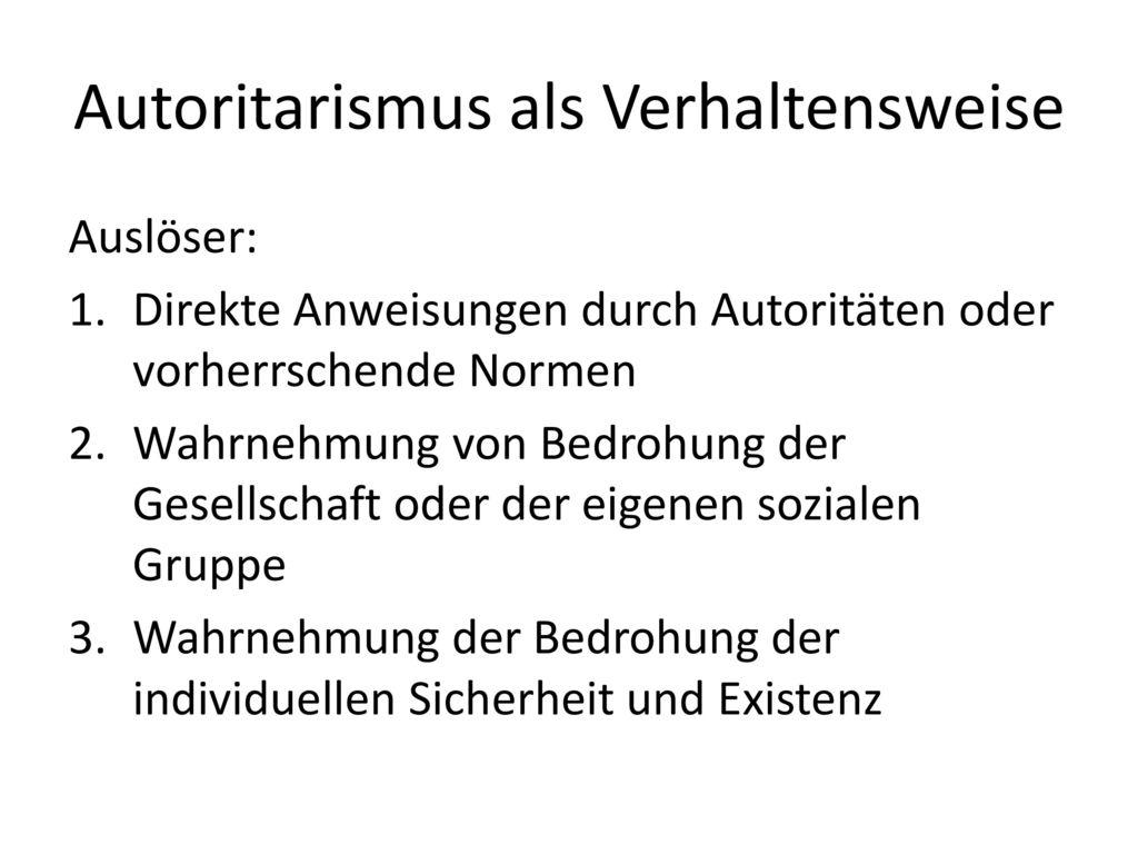 Autoritarismus als Verhaltensweise
