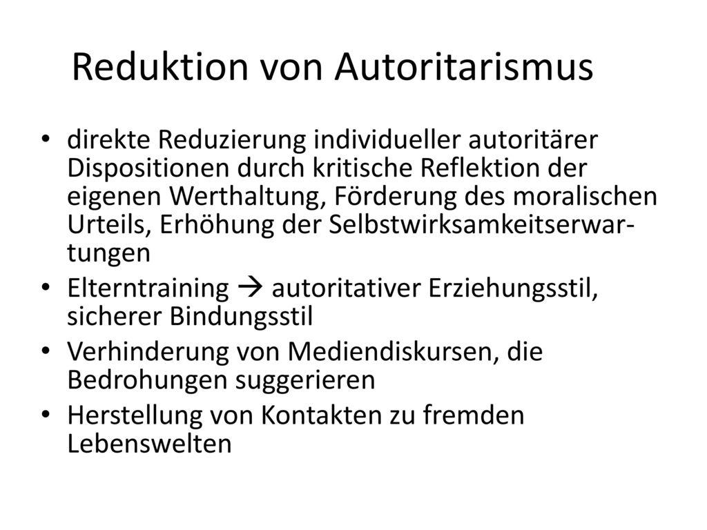 Reduktion von Autoritarismus