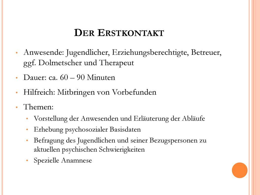 Der Erstkontakt Anwesende: Jugendlicher, Erziehungsberechtigte, Betreuer, ggf. Dolmetscher und Therapeut.