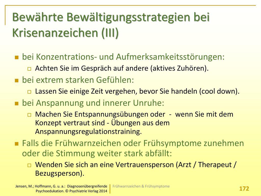 Bewährte Bewältigungsstrategien bei Krisenanzeichen (III)