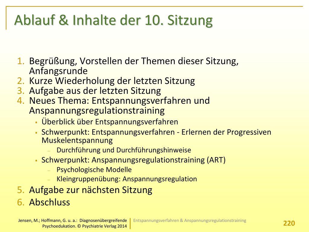 Ablauf & Inhalte der 10. Sitzung