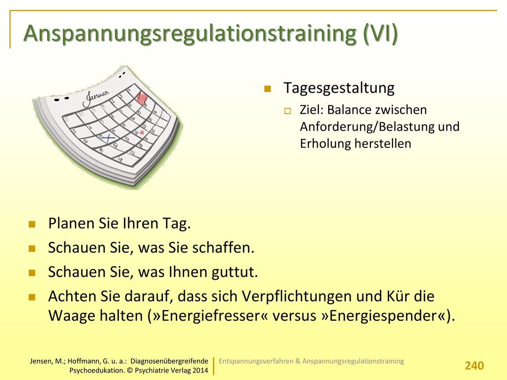 Anspannungsregulationstraining (VI)