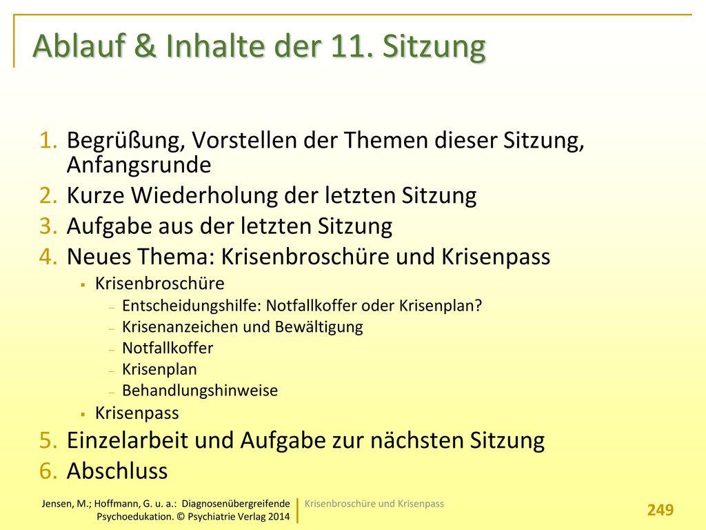 Ablauf & Inhalte der 11. Sitzung