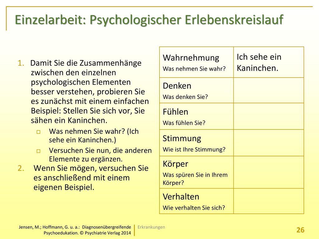 Einzelarbeit: Psychologischer Erlebenskreislauf