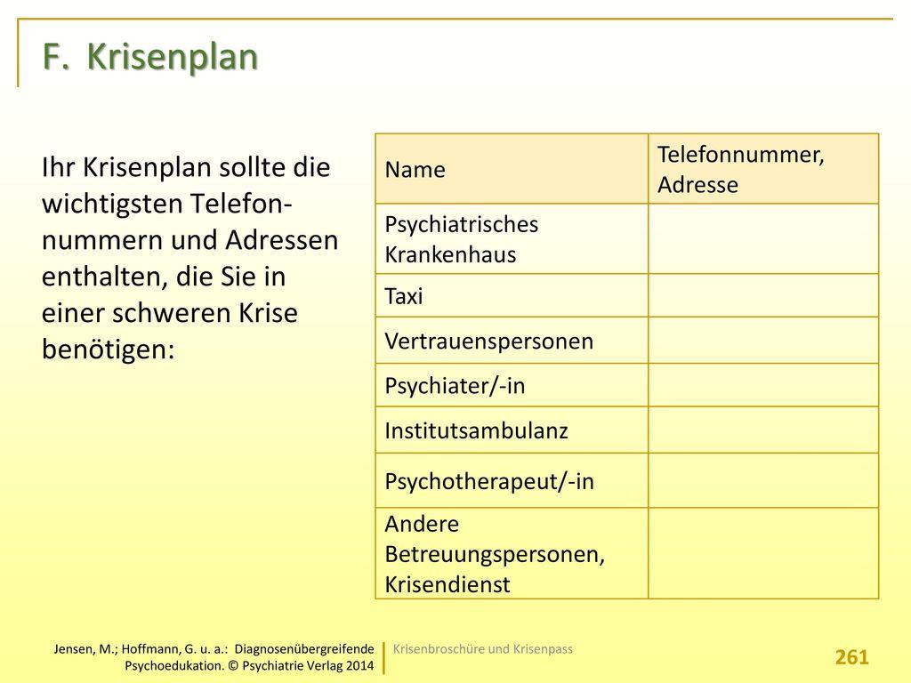 F. Krisenplan Name. Telefonnummer, Adresse. Psychiatrisches Krankenhaus. Taxi. Vertrauenspersonen.