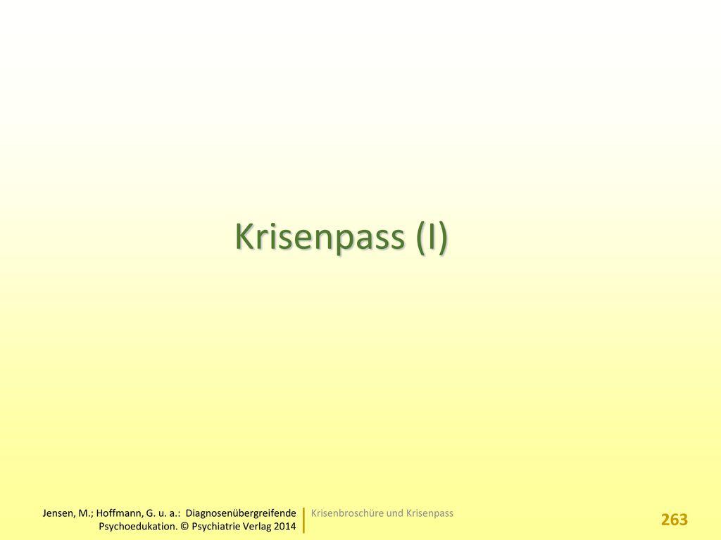 Krisenpass (I) Krisenbroschüre und Krisenpass