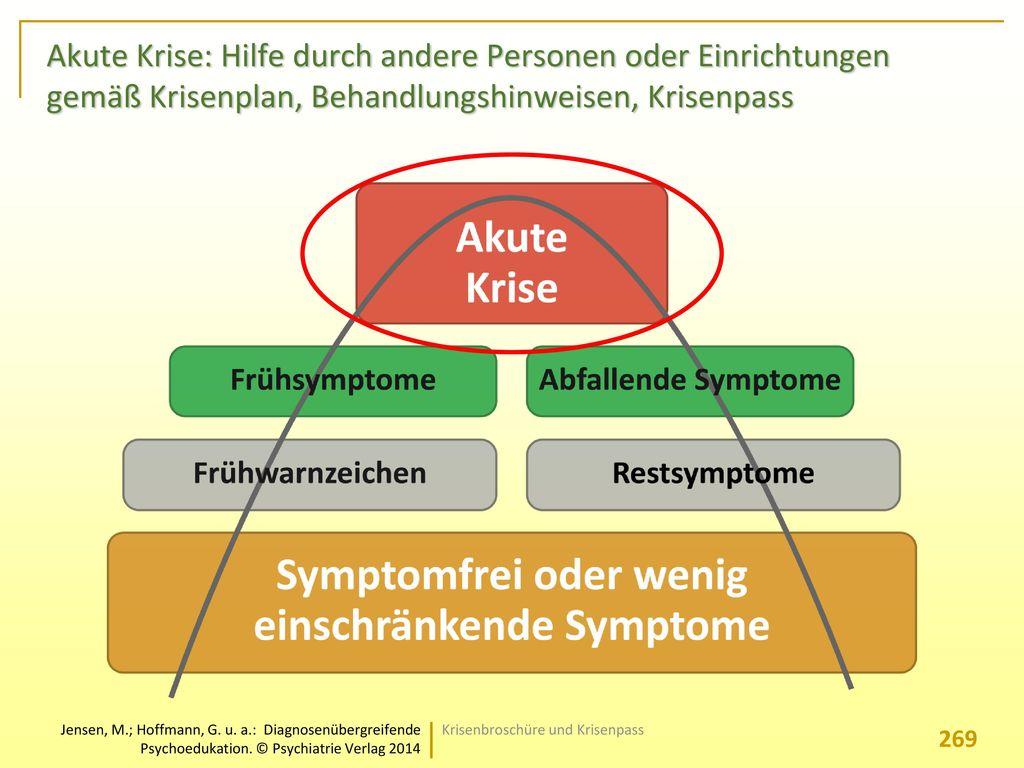 Akute Krise: Hilfe durch andere Personen oder Einrichtungen gemäß Krisenplan, Behandlungshinweisen, Krisenpass