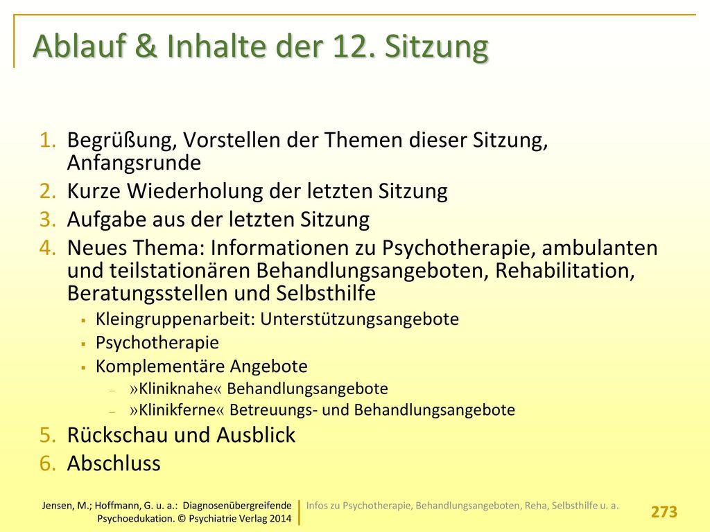 Ablauf & Inhalte der 12. Sitzung