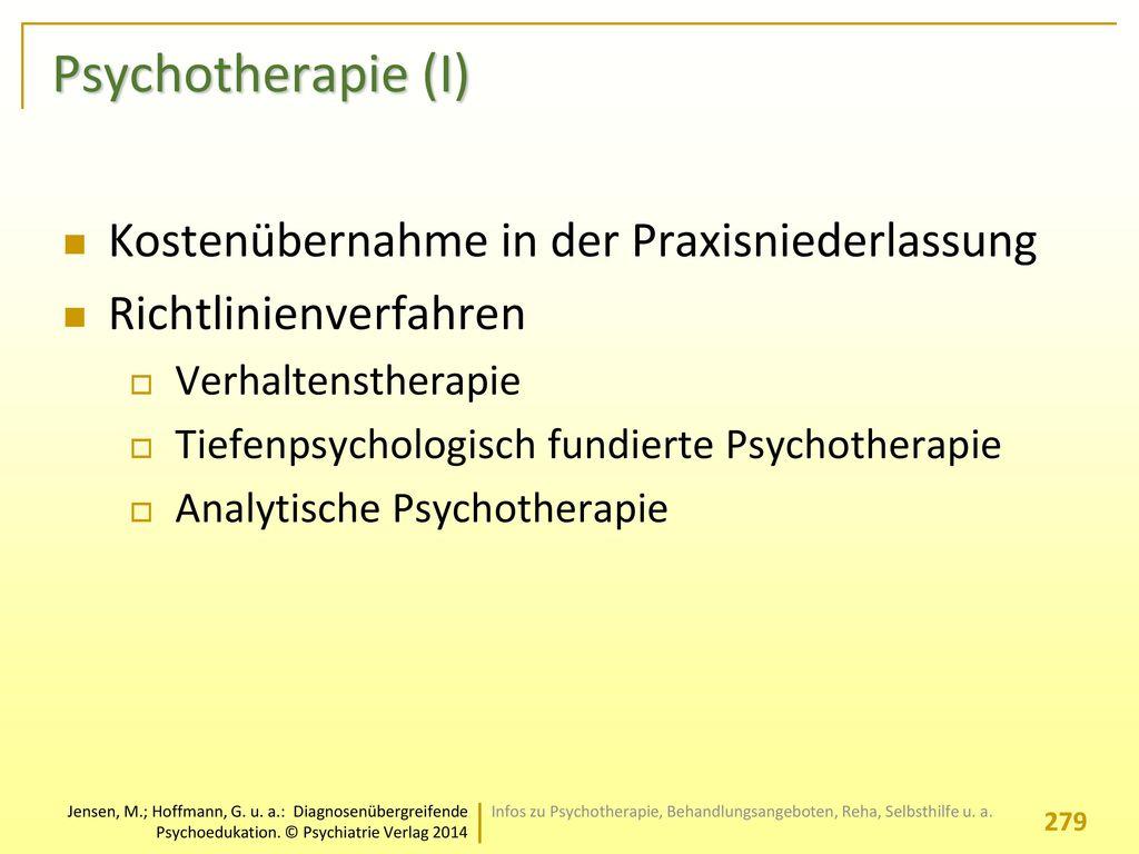 Psychotherapie (I) Kostenübernahme in der Praxisniederlassung