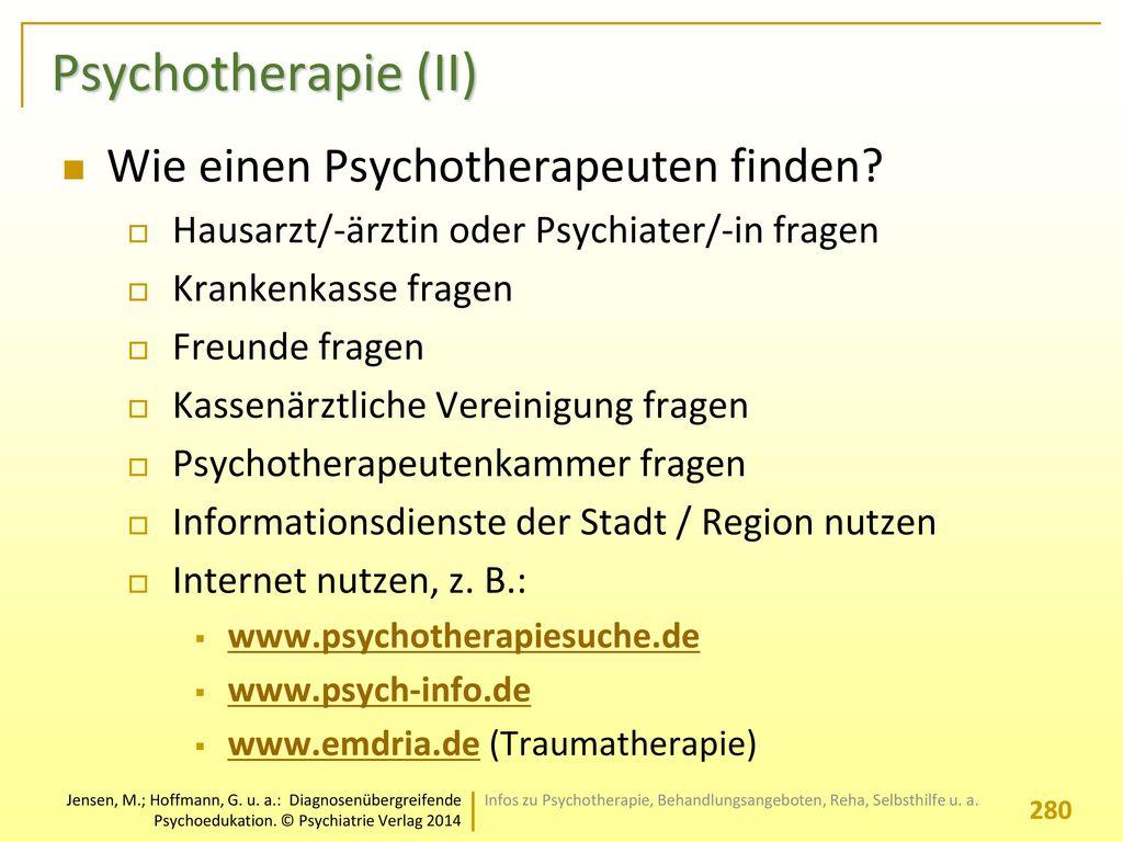 Psychotherapie (II) Wie einen Psychotherapeuten finden