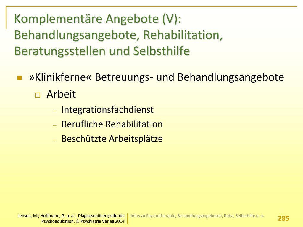 Komplementäre Angebote (V): Behandlungsangebote, Rehabilitation, Beratungsstellen und Selbsthilfe
