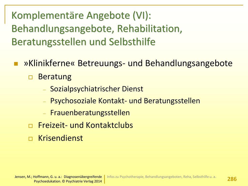 Komplementäre Angebote (VI): Behandlungsangebote, Rehabilitation, Beratungsstellen und Selbsthilfe