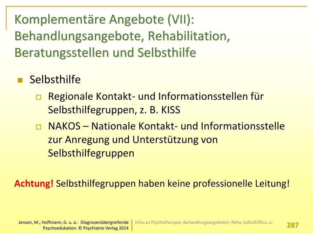 Komplementäre Angebote (VII): Behandlungsangebote, Rehabilitation, Beratungsstellen und Selbsthilfe