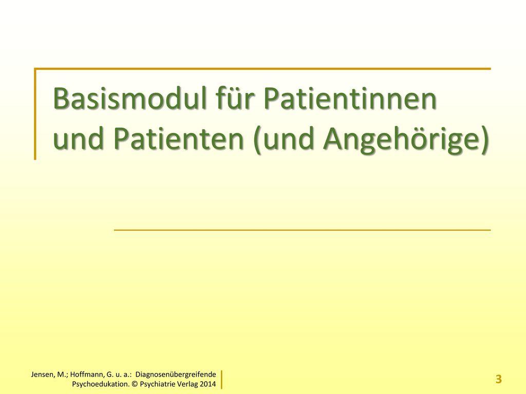 Basismodul für Patientinnen und Patienten (und Angehörige)