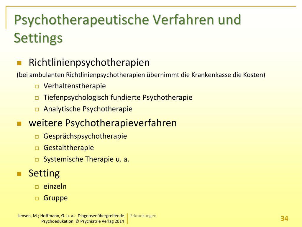 Psychotherapeutische Verfahren und Settings