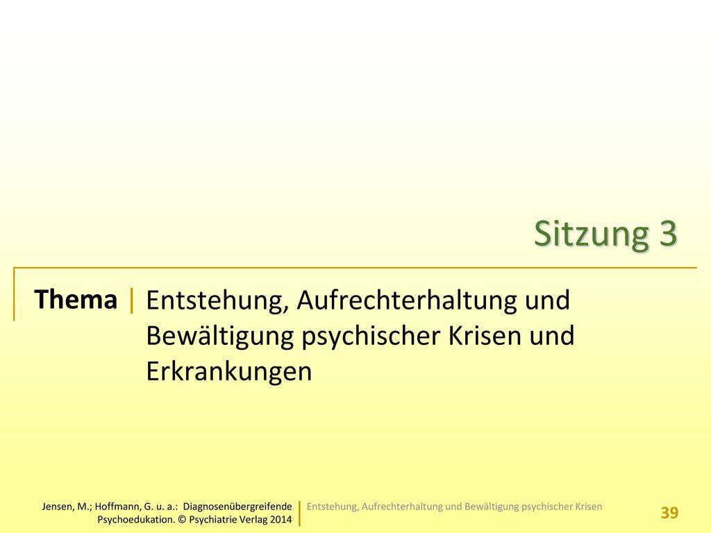 Sitzung 3 Entstehung, Aufrechterhaltung und Bewältigung psychischer Krisen und Erkrankungen.