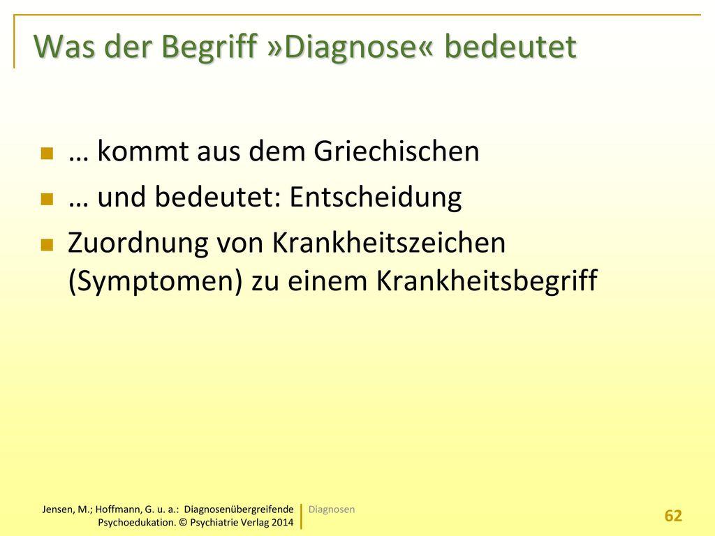 Was der Begriff »Diagnose« bedeutet