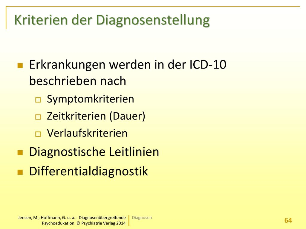 Kriterien der Diagnosenstellung