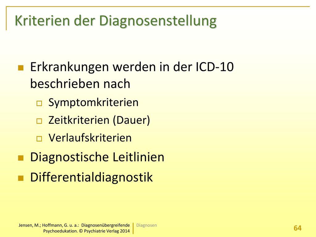 Kriterien der Diagnosenstellung
