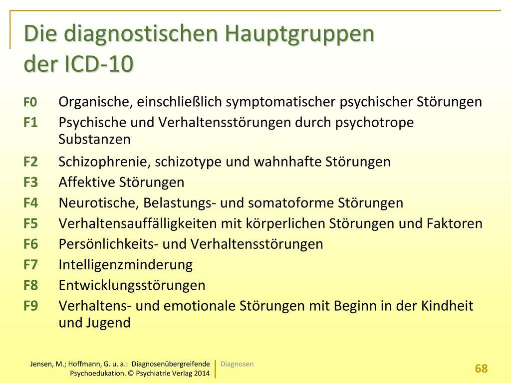 Die diagnostischen Hauptgruppen der ICD-10