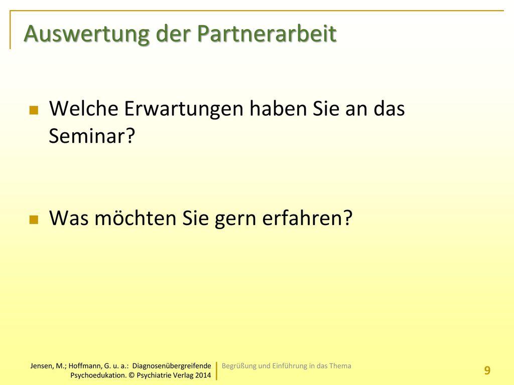 Auswertung der Partnerarbeit