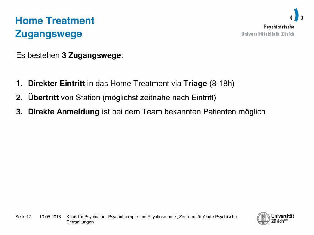 Home Treatment Zugangswege