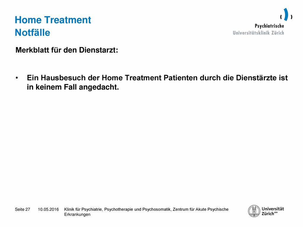 Home Treatment Notfälle