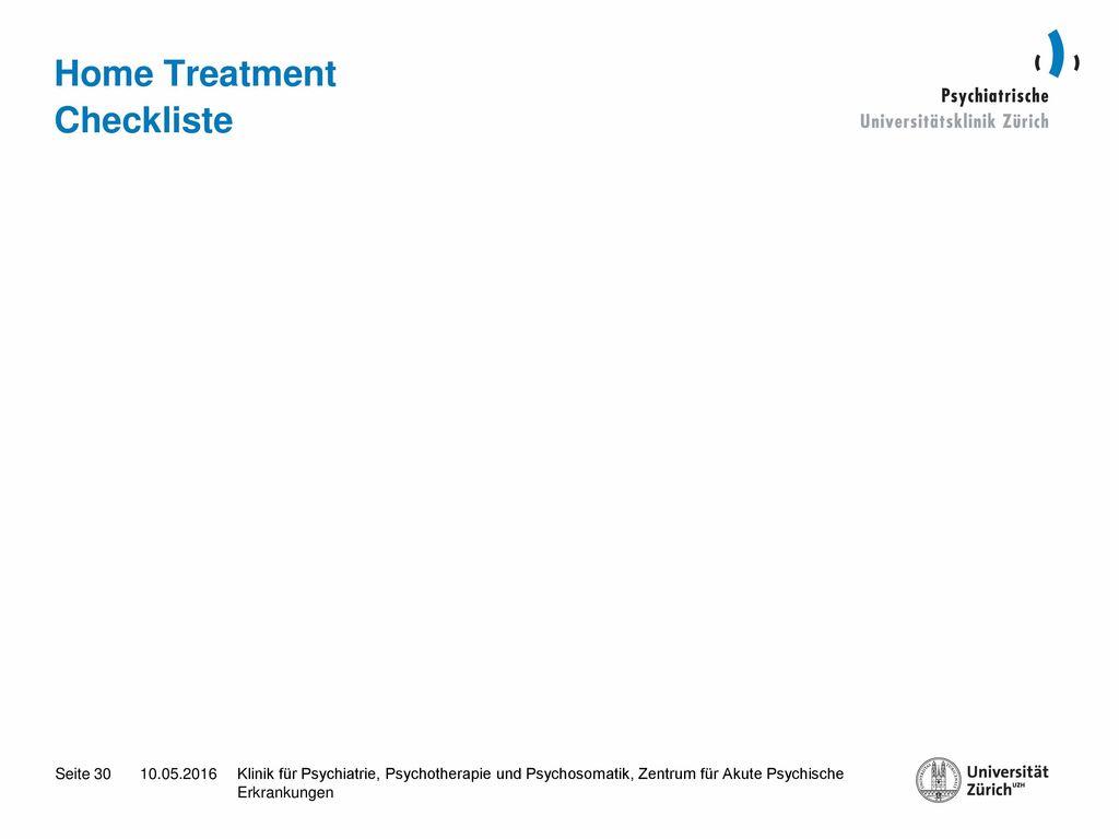 Home Treatment Checkliste