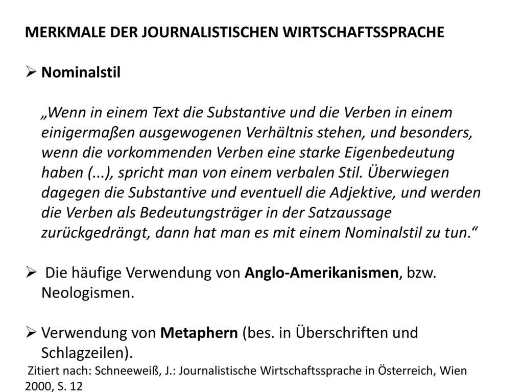 MERKMALE DER JOURNALISTISCHEN WIRTSCHAFTSSPRACHE