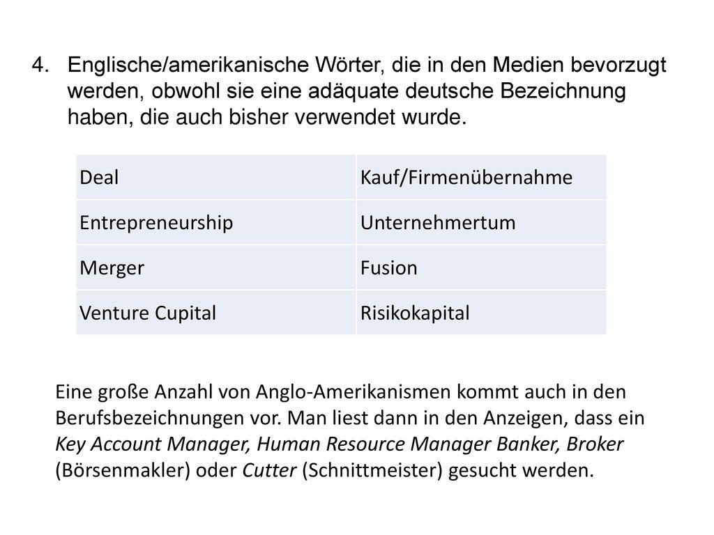 Englische/amerikanische Wörter, die in den Medien bevorzugt werden, obwohl sie eine adäquate deutsche Bezeichnung haben, die auch bisher verwendet wurde.