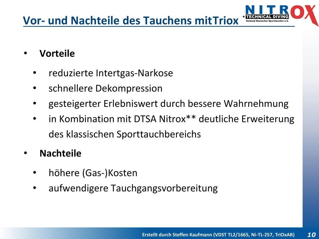 Vor- und Nachteile des Tauchens mit Triox