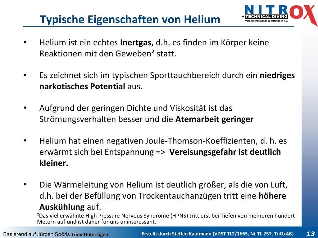 Typische Eigenschaften von Helium