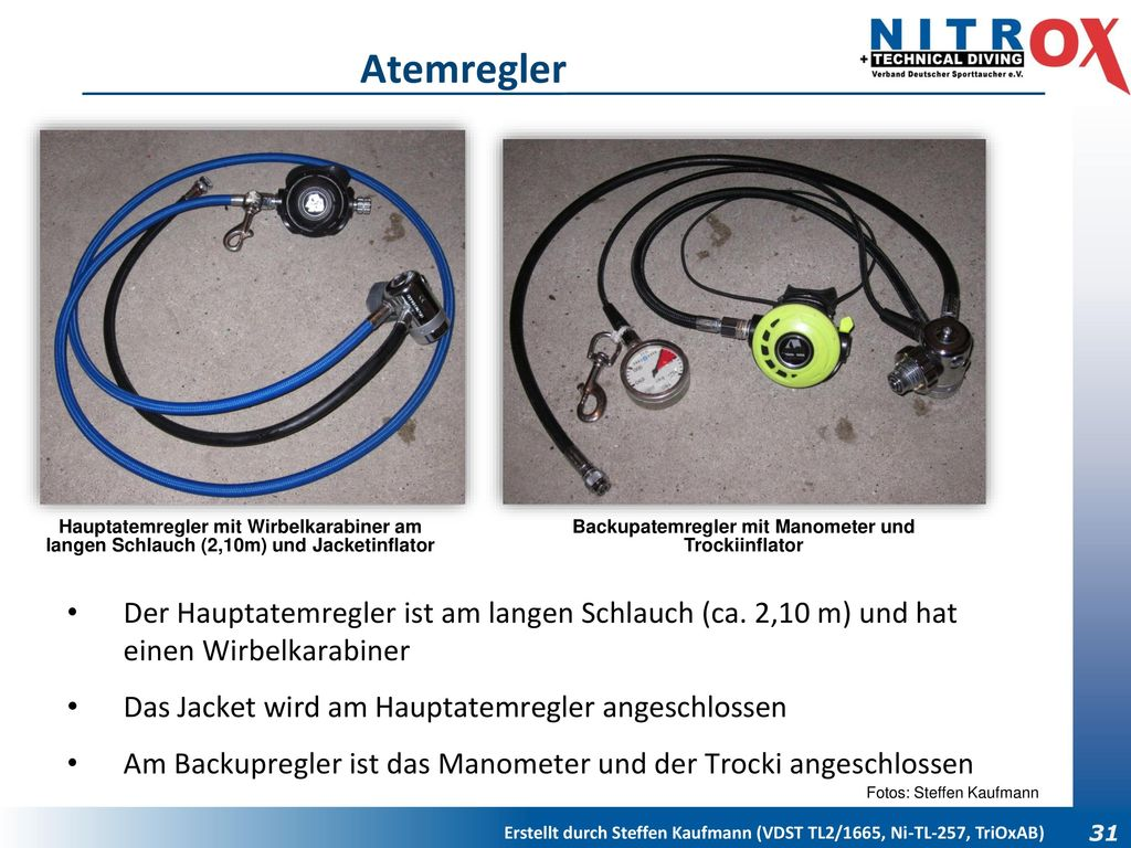 Backupatemregler mit Manometer und Trockiinflator