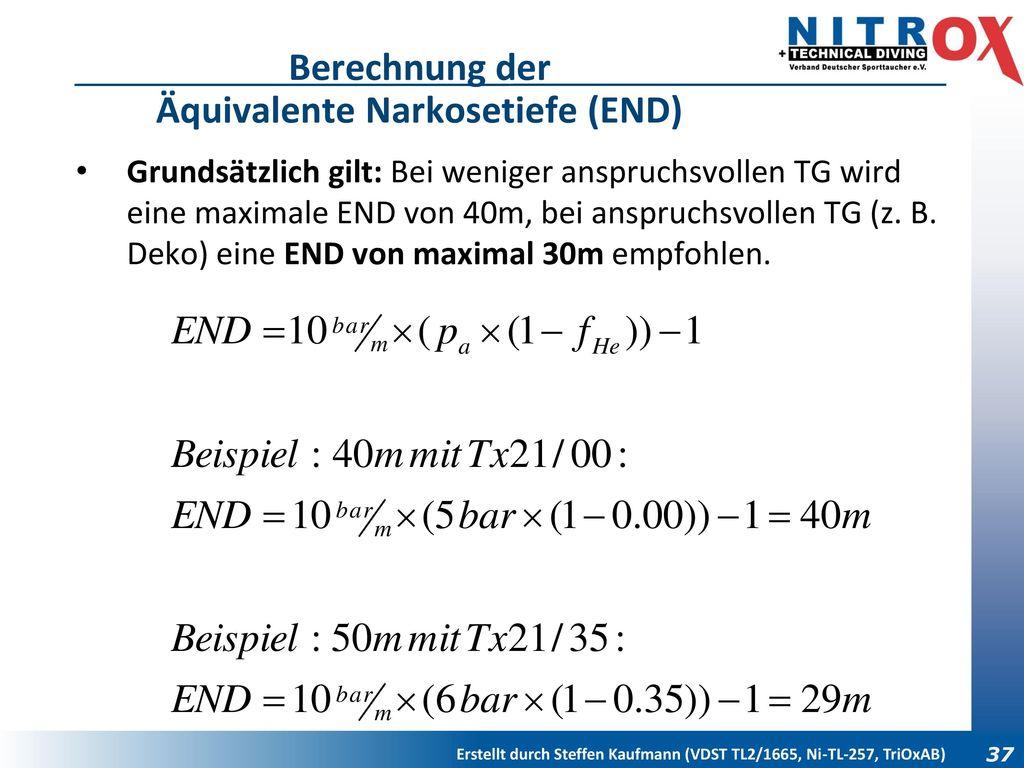 Berechnung der Äquivalente Narkosetiefe (END)