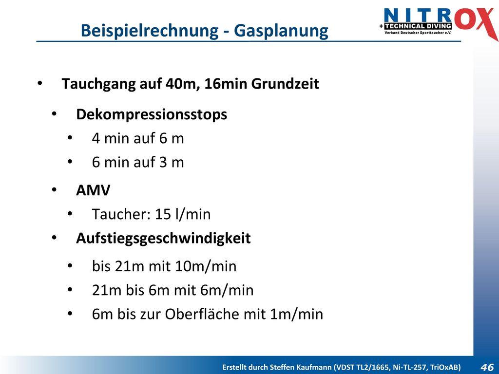 Beispielrechnung - Gasplanung