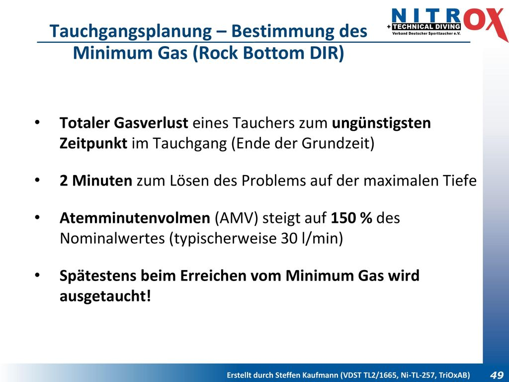 Tauchgangsplanung – Bestimmung des Minimum Gas (Rock Bottom DIR)