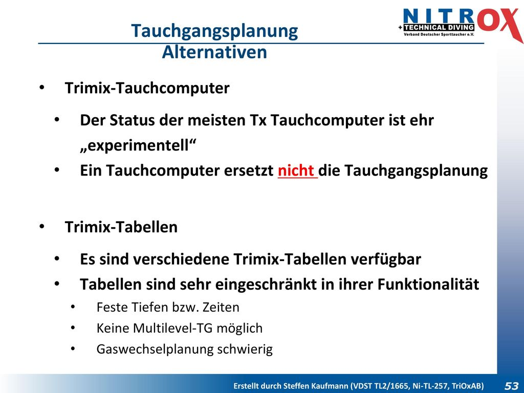 Tauchgangsplanung Alternativen