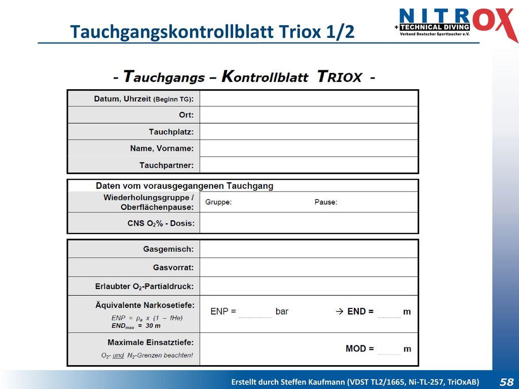 Tauchgangskontrollblatt Triox 1/2
