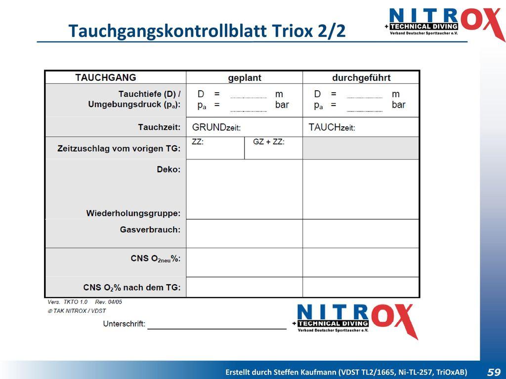 Tauchgangskontrollblatt Triox 2/2