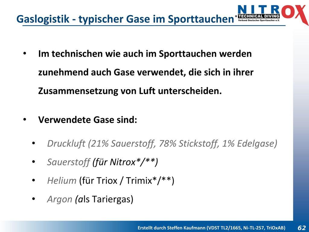 Gaslogistik - typischer Gase im Sporttauchen