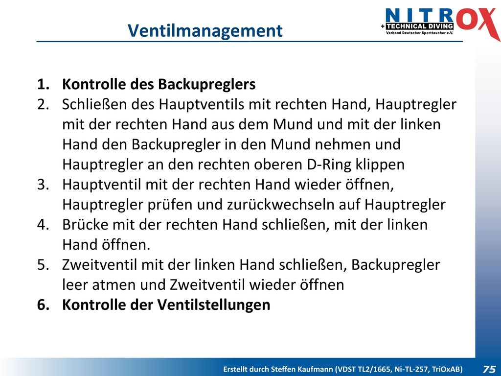 Ventilmanagement Kontrolle des Backupreglers