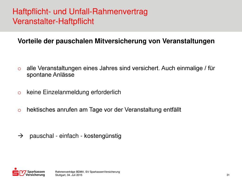 Haftpflicht- und Unfall-Rahmenvertrag Veranstalter-Haftpflicht