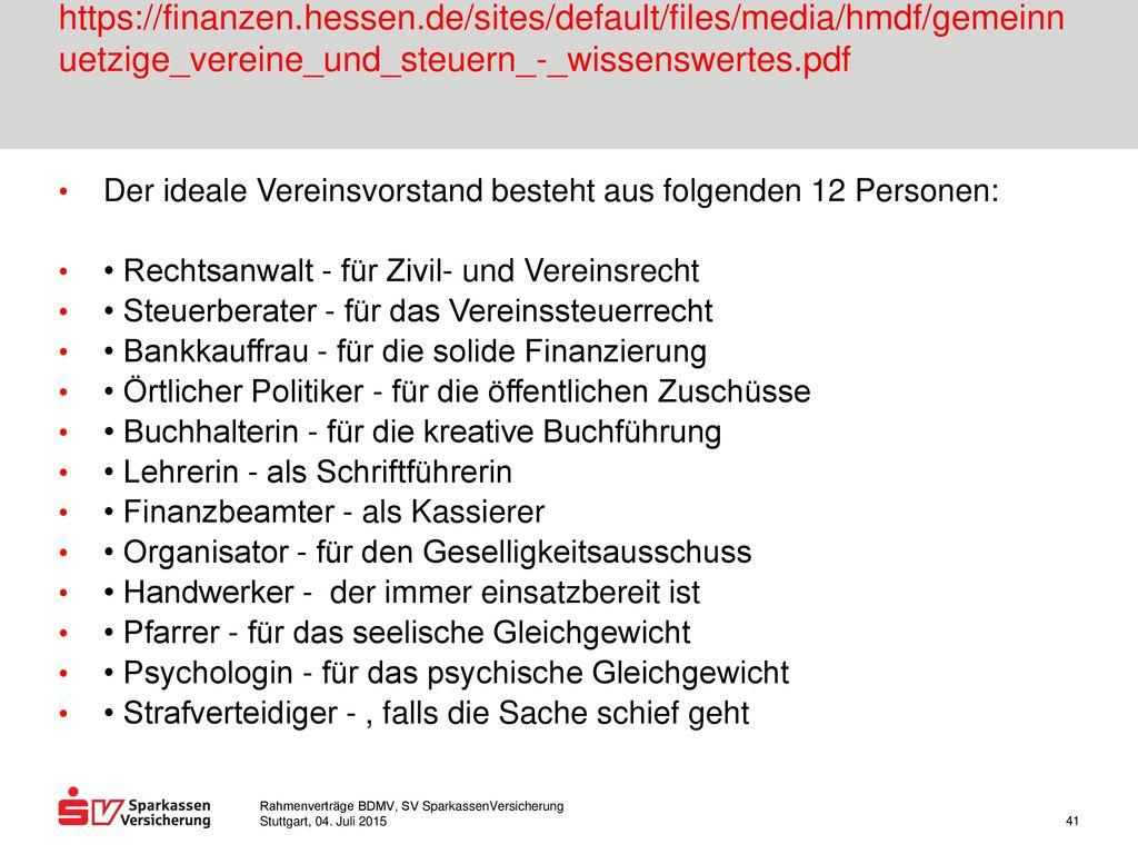 Hessisches Ministerium der Finanzen Gemeinnützige Vereine und Steuern https://finanzen.hessen.de/sites/default/files/media/hmdf/gemeinnuetzige_vereine_und_steuern_-_wissenswertes.pdf