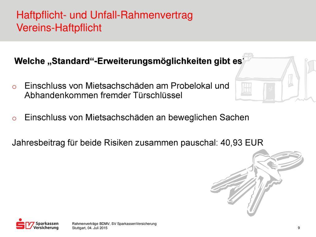 Haftpflicht- und Unfall-Rahmenvertrag Vereins-Haftpflicht