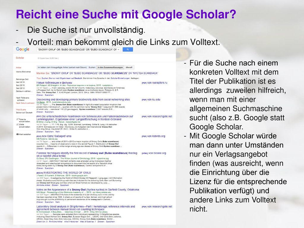 Reicht eine Suche mit Google Scholar