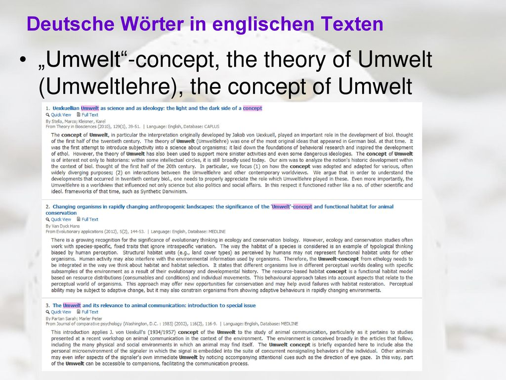 Deutsche Wörter in englischen Texten