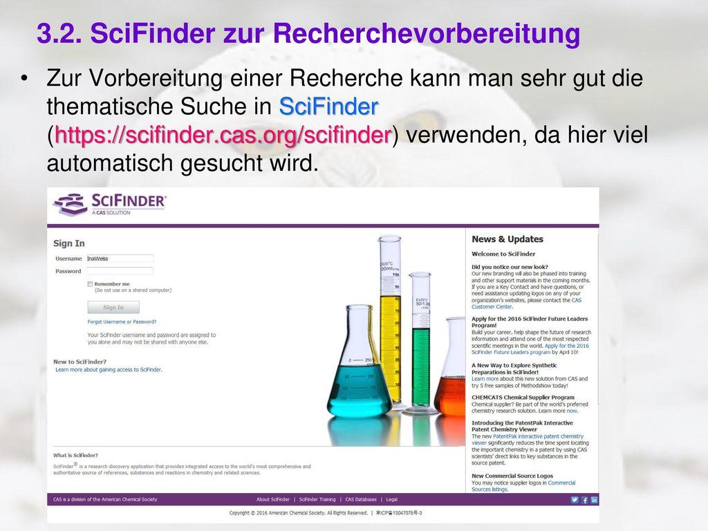 3.2. SciFinder zur Recherchevorbereitung